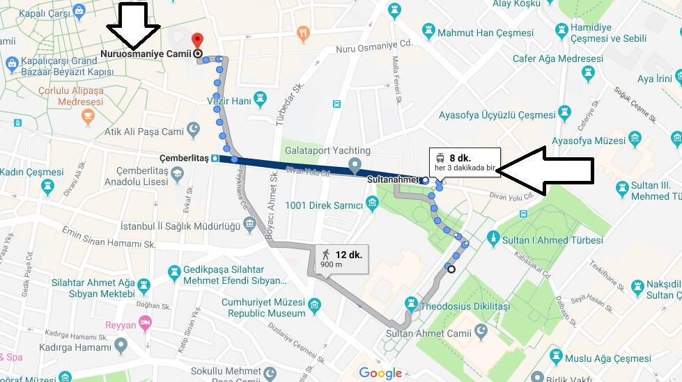 Nuruosmaniye Camii Nerede Nasıl Gidilir?