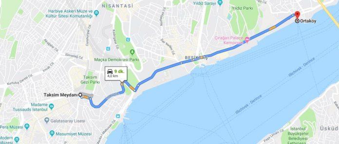 Taksimden Ortaköye nasıl gidilir? (Yürüyerek)