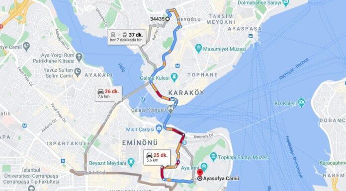 Taksim'den Ayasofya'ya Nasıl Gidilir